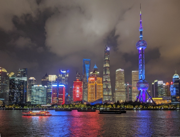 We docked late this afternoon at the Shanghai Port International Cruise Terminal on the Huangpu River, directly across from the modern skyscrapers of the 25-year old Pudong district