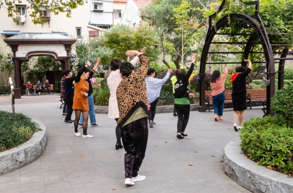 A tai chi class in Huoshan Park was underway during our walk through the small neighborhood park in Shanghai, China; it was built in 1917 and was frequented by the Jewish refugees living nearby for breaks and parties during World War II
