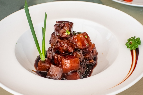 Red Braised Pork (a real signature dish of the city, alternatively available for locals as red braised eel), Yuan Yuan Resuarant, French Concession, Shanghai, China
