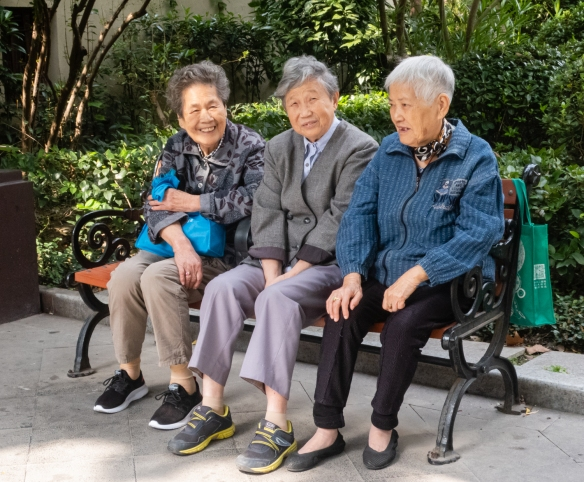Several local ladies from the neighborhood nearby Huoshan Park in what was the Jewish ghetto during World War II, Shanghai, China