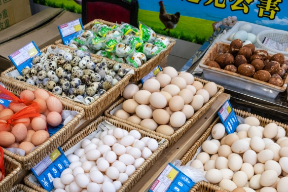 Several vendors had a big variety of eggs, including quail eggs (middle upper left), Guangyuan Lu Market, Shanghai, China