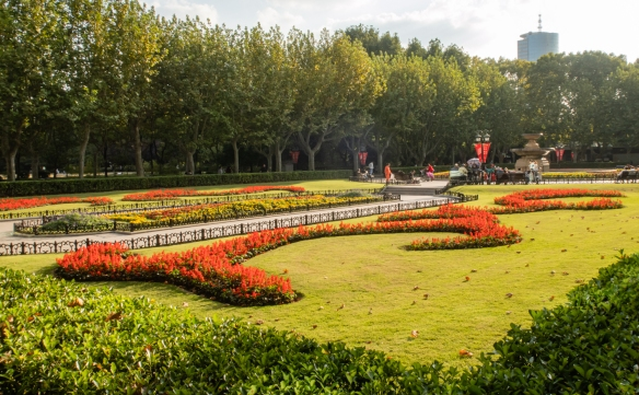 Some of the magnificent gardens in the public Fuxing Park in the French Concession, Shanghai, China