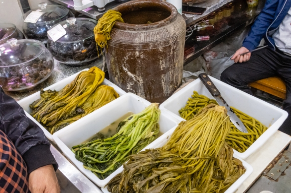 The fermented greens reminded us of the markets in South Korea; Guangyuan Lu Market, Shanghai, China