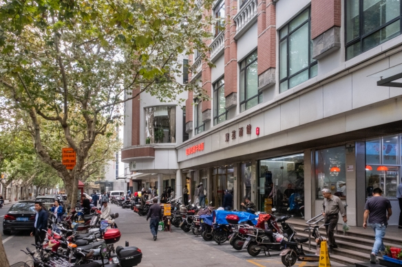 """The Guangyuan Lu Market (a so-called """"wet market"""" -- 菜市场, cài shìchǎng) in the French Concession is inside this modern building – a newer location for an old neighborhood institution, Shanghai, China"""