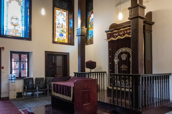 The interior of the former Ohel Moshe Synagogue in the Hongkou neighborhood (Jewish Ghetto during World War II), now part of the restored complex of buildings making up the Shanghai Jewish Refugees Museum