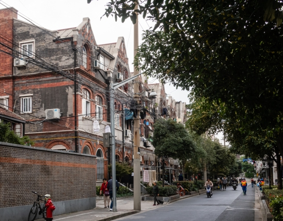 "Typical three-story homes in the 1940s Jewish Ghetto (""the designated area for stateless refugees"") along Zhoushan Road, Shanghai, China"
