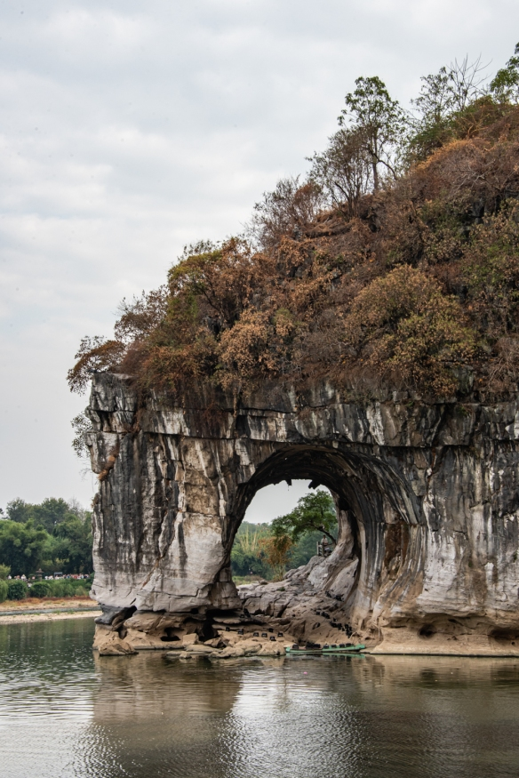 Elephant Trunk Hill (象鼻山; Xiàng bí shān) is located on the banks of the Li River, within walking distance of Guilin's city center; it's a hill with a large natural arch cut into it, resembling the trunk of an Elephant dipping into the river;Guangxi
