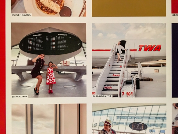 Enlarged reproductions of photos taken at the TWA Hotel, JFK International Airport, New York, NY, USA and in the photo booth in the hotel lobby