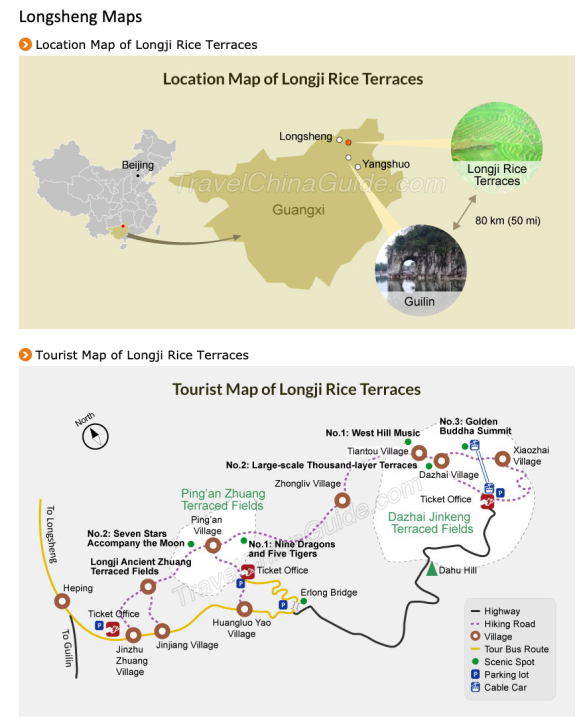 Longji Rice Terraces map