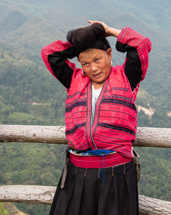 One of the two Yao women photographed with their long hair at the Jinkeng Red Yao Terraced Rice Fields, Dazhai Village, near Guilin, Guangxi, China #6