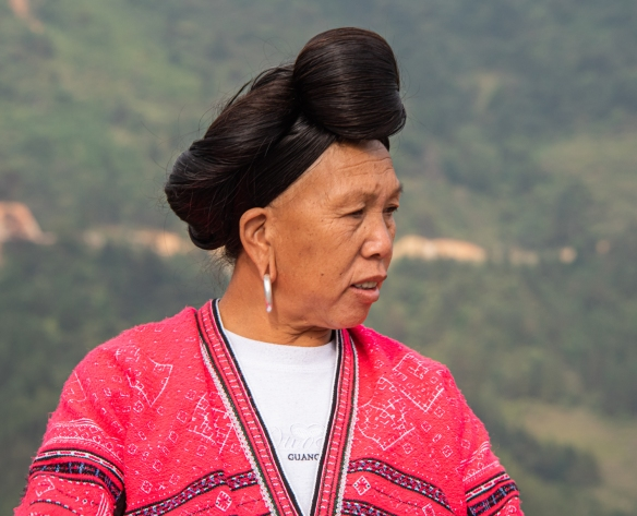 One of the two Yao women photographed with their long hair at the Jinkeng Red Yao Terraced Rice Fields, Dazhai Village, near Guilin, Guangxi, China #9