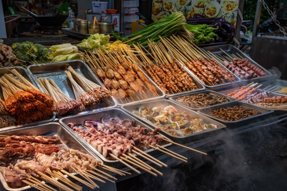 One street vendor's selection of street food, Yangshuo, Guangxhi, China