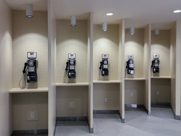 Our grandchildren have no idea what these devices – wall-mounted pay telephones – are, or what they are used for; they can't imagine not walking around with a telephone (and Internet computer) in your pocket, e.g., a smartphone