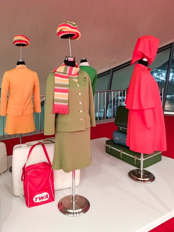 Period TWA flight attendant uniforms – here from 1968-1971 by Dalton of America -- and flight bags are in one of several museum-quality exhibitions curated by the New York Historical Society at the TWA Hotel, JFK International Airport