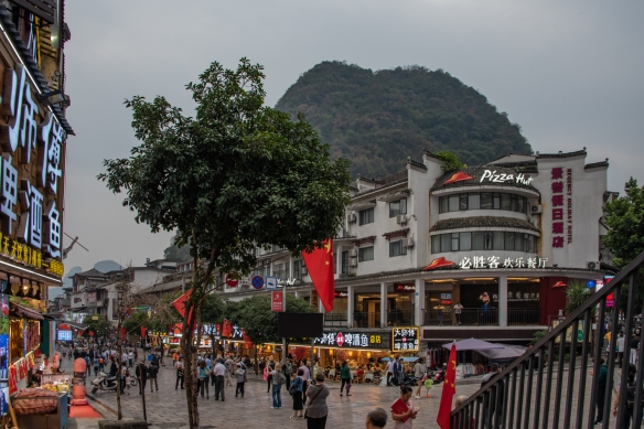 Shopping and dining options in the small city of Yangshuo included both local and international options, Guangxhi, China