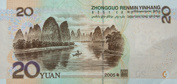 The karst mountains of Guilin, seen from the Li River (or Li Jiang), China #1 – this scenery is so popular and important to China that the Guilin Li River karst mountains are featured on the national 20 Yuan (Renmimbi) paper currency (value ~ US$3.)