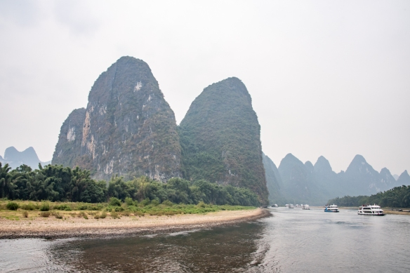 The karst mountains of Guilin, seen from the Li River (or Li Jiang), photographed on our river boat cruise from Guilin south to Yangshuo, Guangxi, China #11