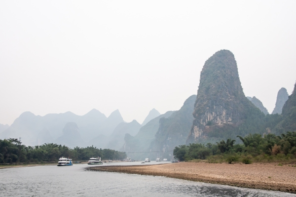 The karst mountains of Guilin, seen from the Li River (or Li Jiang), photographed on our river boat cruise from Guilin south to Yangshuo, Guangxi, China #6