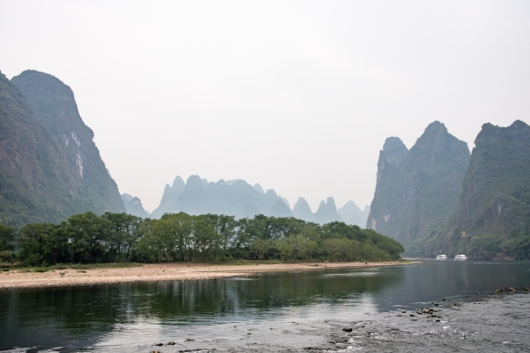 The karst mountains of Guilin, seen from the Li River (or Li Jiang), photographed on our river boat cruise from Guilin south to Yangshuo, Guangxi, China #9