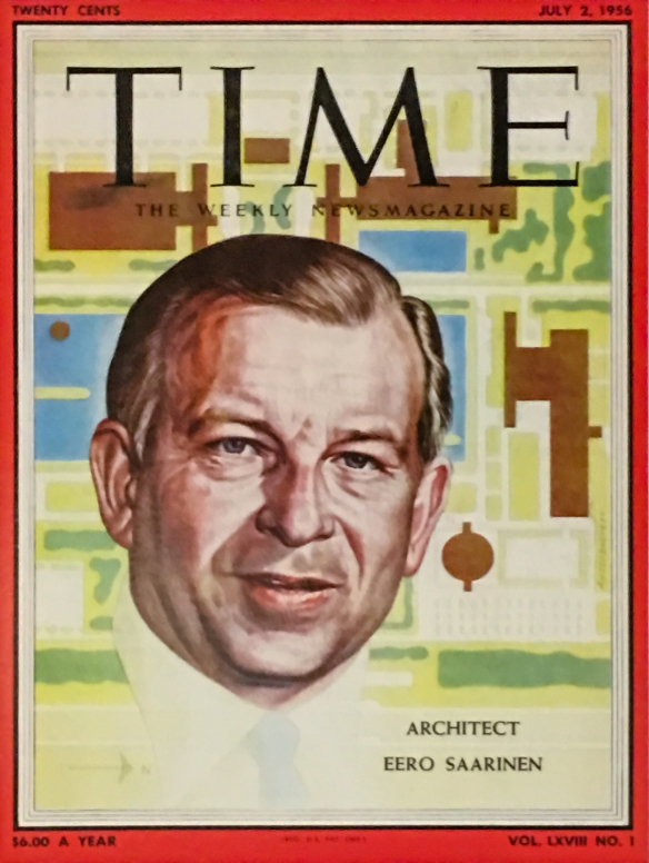 The TWA Flight Center architect, Eero Saarinen, on the cover of Time magazine in 1956 – famous before he won the commission to design and build the TWA Flight Center (terminal) [now the TWA Hotel] at JFK International Airport, New York