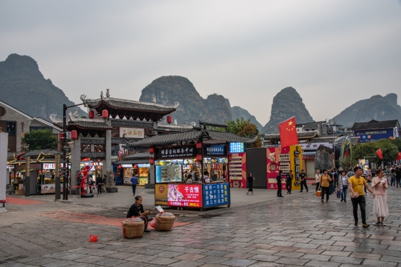 This area contained a lot of street food vendors, offering snacks and light suppers to passersby, Yangshuo, Guangxhi, China