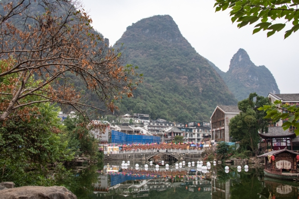 We passed by a huge local festival as we headed over to the main street to catch a van to the theater on the Li River for the performance of the renowned light show, Impression Sanjie Liu; Yangshuo, Guangxhi, China