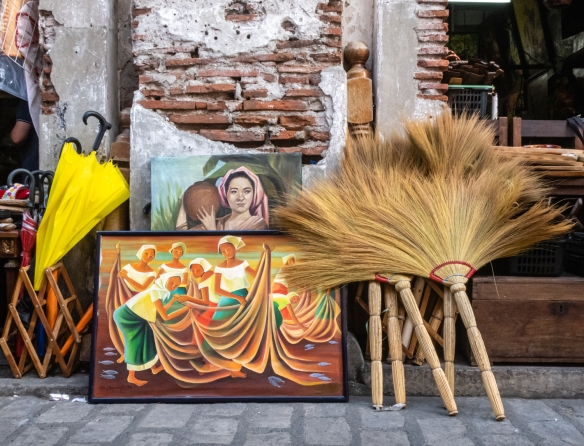 Art work and artifacts for sale on the main historic street of Vigan, Philippines