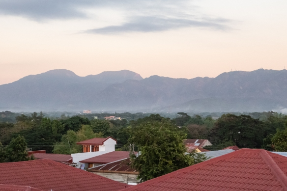 Downtown Vigan and the surrounding mountains on the west coast of Luzon Island, Philippines