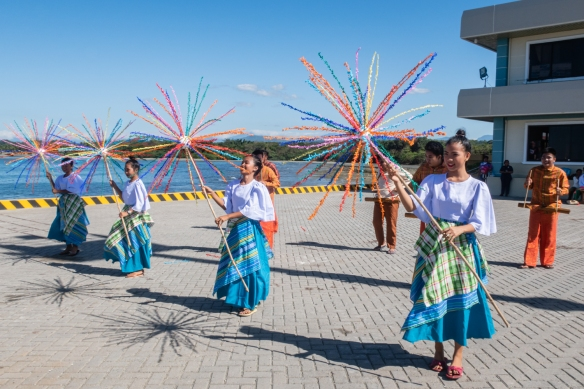 Local Filippino dancers on the pier for our welcome (by tender boats) to Currimao, Philippines