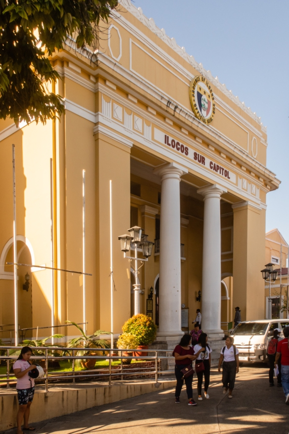 The municipal hall building in Vigan, Philippines, adjacent to the Plaza Salcedo, the central park downtown
