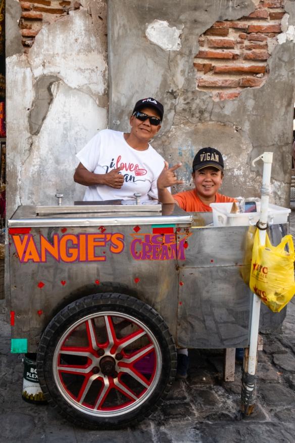 Vangie's ice cream street vendors in Vigan, Philippines
