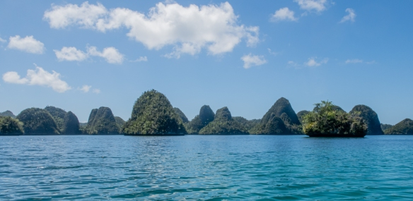 Wayag, Raja Ampat, Indonesia #2; our Zodiac cruising took us through the labyrinth of karst islets