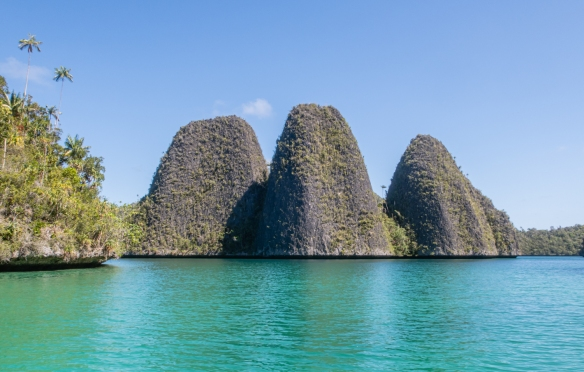 "Wayag, Raja Ampat, Indonesia #7; the ""Three Sisters"" (some were arguing for the name ""Three Brothers""…)"