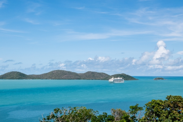 Green Hill Fort, Thursday Island, Torres Strait Islands, Queensland, Australia #4; our ship at anchor surrounded by some of the other Torres Strait Islands