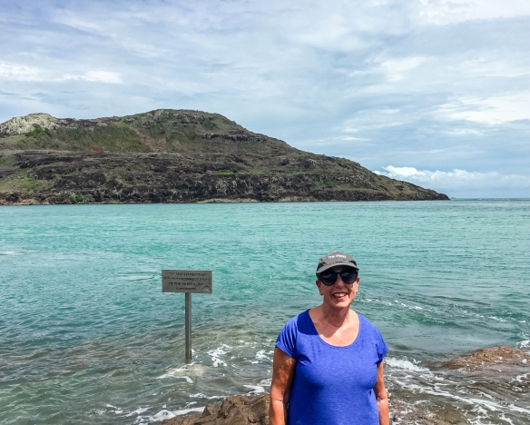 Our intrepid traveler at the northernmost point of the Australian continent; Cape York, Queensland, Australia