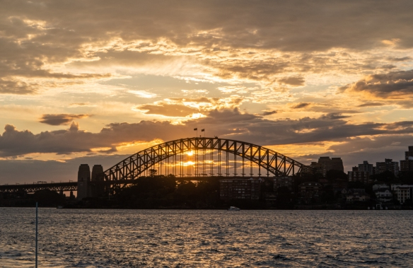 A closeup of the Sydney Harbour Bridge at sunset; New South Wales, Australia