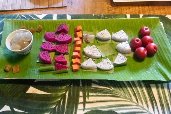 Lychees, pink dragon fruit, mango, white dragon fruit and mangosteens as the final course for lunch at the Botanical Ark, Port Douglas, Queensland, Australia