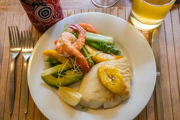 Our luncheon plate with fresh local fish and prawns and fresh grown, local fruits at the Botanical Ark, Port Douglas, Queensland, Australia