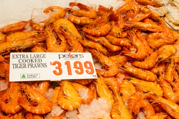 Extra large (cooked) tiger prawns, Sydney Fish Market, Sydney, New South Wales, Australia