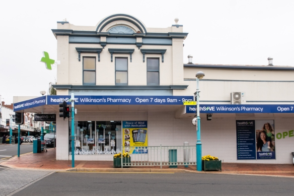 Wilkinson's Pharmacy operates in a nicely restored historic building in downtown Burnie, Tasmania, Australia
